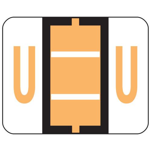 Smead BCCR Bar-Style Color-Coded Alphabetic Label, U, Label Roll, Light Orange, 500 labels per Roll, (67091)