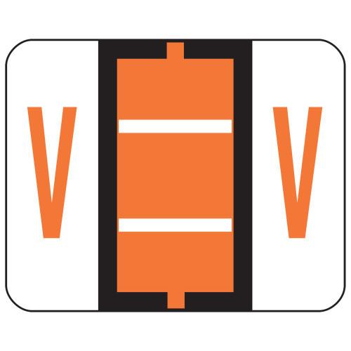 Smead BCCR Bar-Style Color-Coded Alphabetic Label, V, Label Roll, Dark Orange, 500 labels per Roll, (67092)