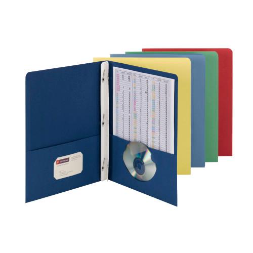 Smead Two-Pocket Heavyweight Folder, Tang Strip Style Fastener, Blue (88052)