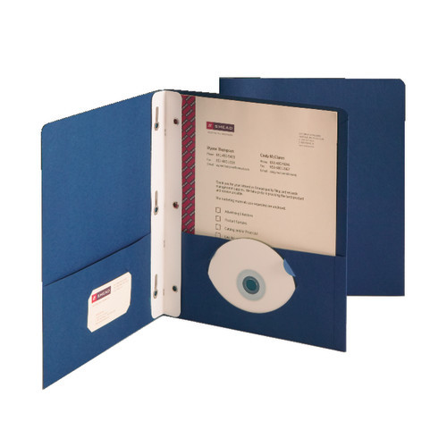 Smead Two-Pocket Heavyweight Folder, Tang Strip Style Fastener, Dark Blue (88054)