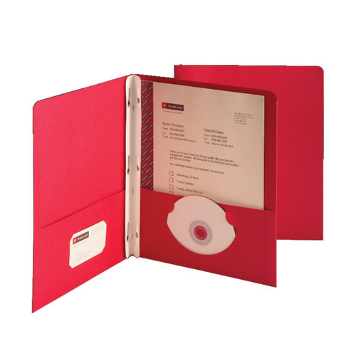 Smead Two-Pocket Heavyweight Folder, Tang Strip Style Fastener, Red (88059)