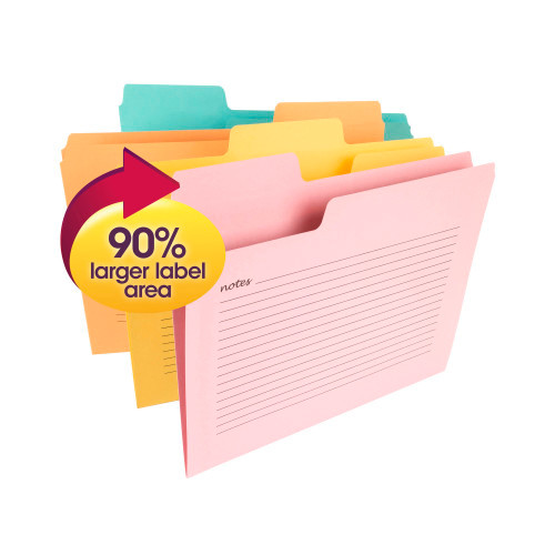 Smead SuperTab Notes File Folder, Oversized 1/3-Cut Tabs, Letter Size, Assorted Colors, 12 per Pack (11650) - 10 Packs