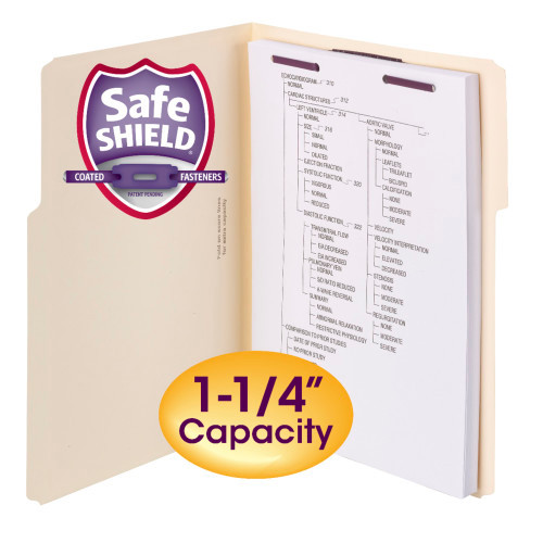 Smead Extra-Capacity Manila Fastener Folders with SafeSHIELD Coated Fastener Technology, 1/3-Cut Tab, Letter Size, 50 per Box (14575)