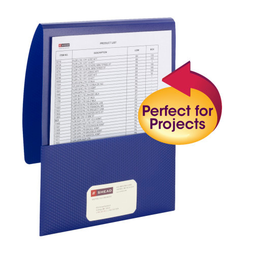 Smead Organized Up Poly Stackit Folders, Letter Size, Dark Blue, 5 per Pack (87806) - 10 Packs