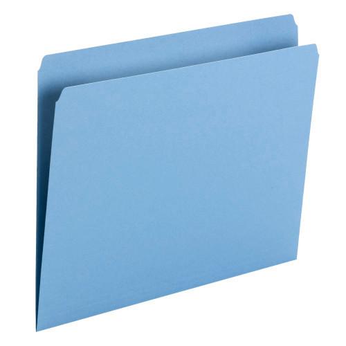 Smead File Folder, Straight Cut, Letter Size, Blue, 100 per Box (10935) - 5 Boxes