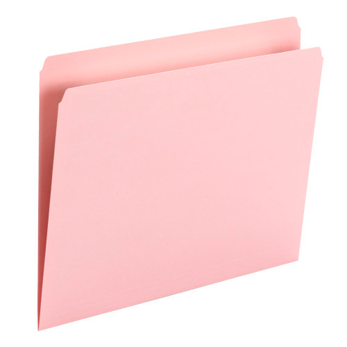 Smead File Folder, Straight Cut, Letter Size, Pink, 100 per Box (10942) - 5 Boxes