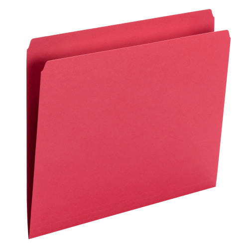 Smead File Folder, Straight Cut, Letter Size, Red, 100 per Box (10943) - 5 Boxes