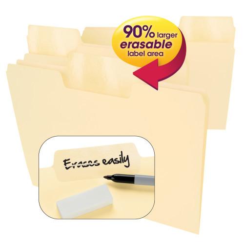 Smead Erasable SuperTab File Folders, Erasable 1/3-Cut Tabs, Letter, Manila, 24 per Pack (10380) - 6 Packs