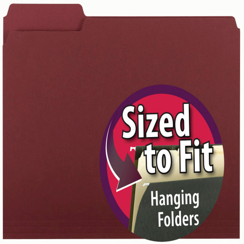 Smead Interior File Folder, 1/3-Cut Tab, Letter Size, Maroon, 100 per Box (10275)