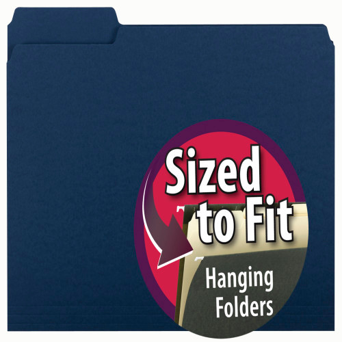 Smead Interior File Folder, 1/3-Cut Tab, Letter Size, Navy, 100 per Box (10279)