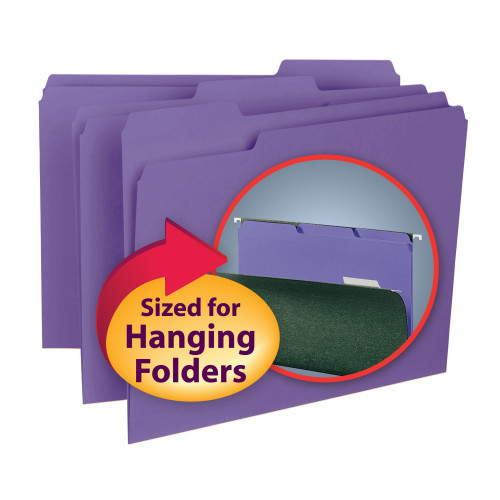 Smead Interior File Folder, 1/3-Cut Tab, Letter Size, Purple, 100 per Box (10283)