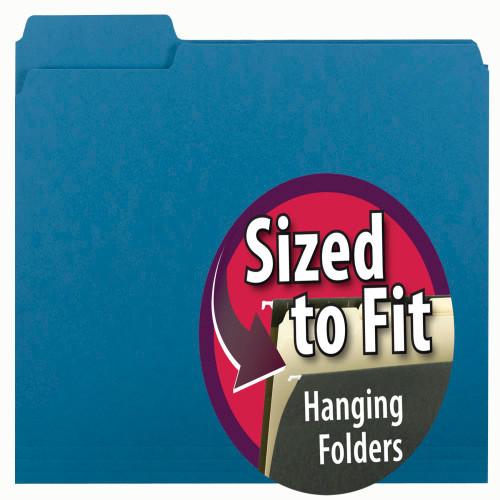 Smead Interior File Folder, 1/3-Cut Tab, Letter Size, Sky Blue, 100 per Box (10287)