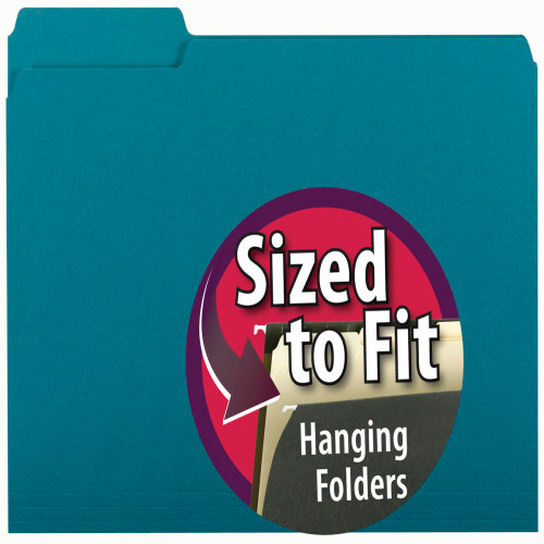 Smead Interior File Folder, 1/3-Cut Tab, Letter Size, Teal, 100 per Box (10291)