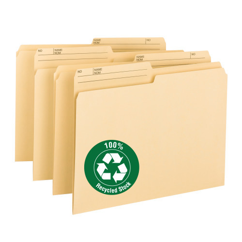 Smead 100% Recycled File Folder, 1/2-Cut Right Tab, Letter Size, Manila, 100 per Box (10329)