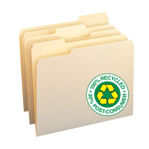 Smead 100% Recycled File Folders, 1/3-Cut Tab, Letter Size, Manila, 100 Per Box (10339) - 5 Boxes