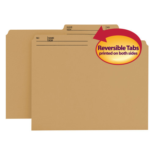 Smead Reversible File Folder, 1/2-Cut Right Printed Tab, Letter Size, Natural Sand, 100 per Box (10340)