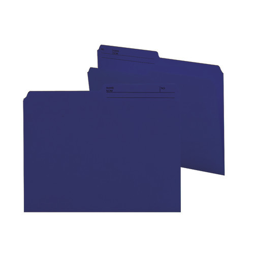 Smead Reversible File Folder, 1/2-Cut Printed Tab, Letter Size, Navy, 100 per Box (10362)