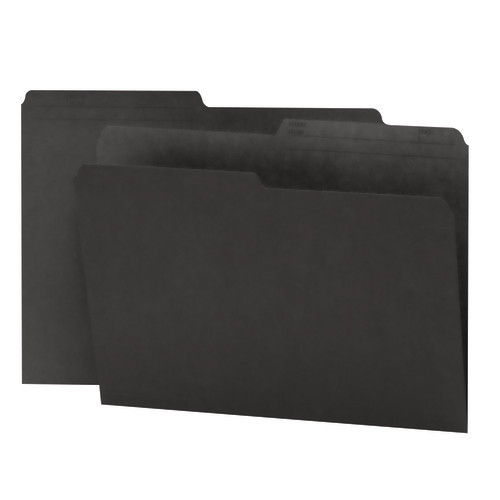 Smead Reversible File Folder, 1/2-Cut Printed Tab, Letter Size, Black, 100 per Box (10364)