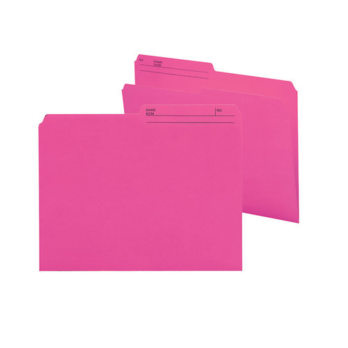 Smead Reversible File Folder, 1/2-Cut Printed Tab, Letter Size, Dark Pink, 100 per Box (10368)