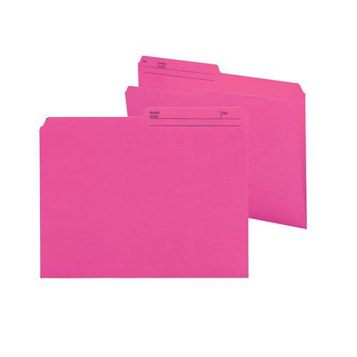 Smead Reversible File Folder, 1/2-Cut Printed Tab, Letter Size, Dark Pink, 100 per Box (10368)
