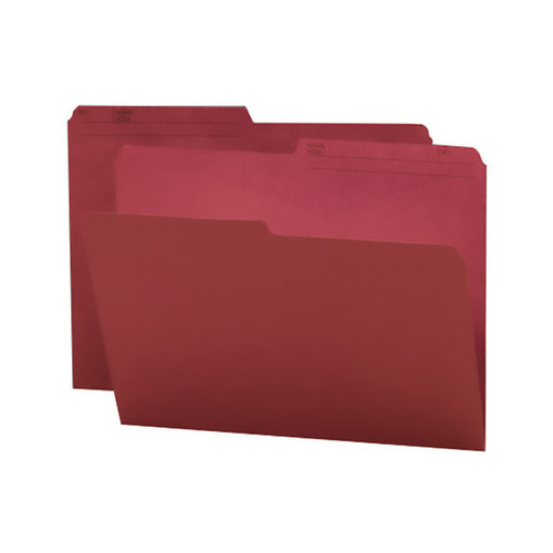 Smead Reversible File Folder, 1/2-Cut Printed Tab, Letter Size, Maroon, 100 per Box (10369)