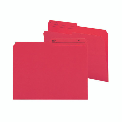 Smead Reversible File Folder, 1/2-Cut Printed Tab, Letter Size, Red, 100 per Box (10372)