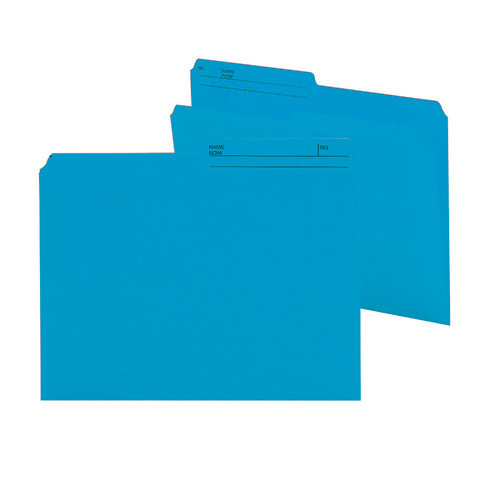 Smead Reversible File Folder, 1/2-Cut Printed Tab, Letter Size, Sky Blue, 100 per Box (10373)