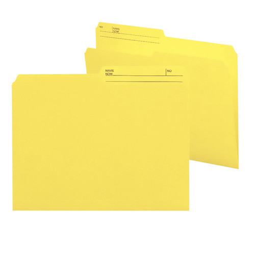 Smead Reversible File Folder, 1/2-Cut Printed Tab, Letter Size, Yellow, 100 per Box (10374)
