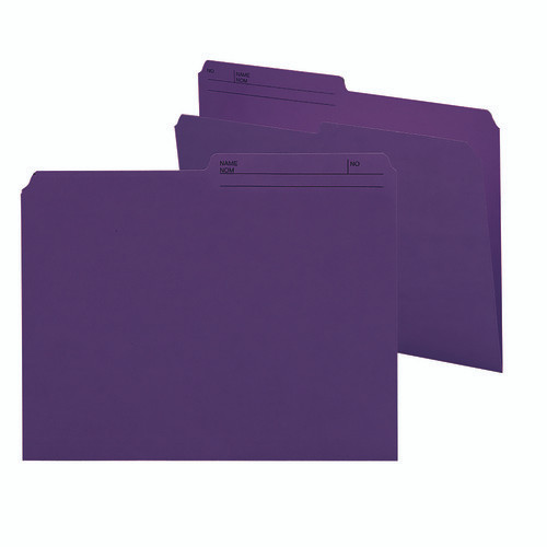 Smead Reversible File Folder, 1/2-Cut Printed Tab, Letter Size, Purple, 100 per Box (10378)