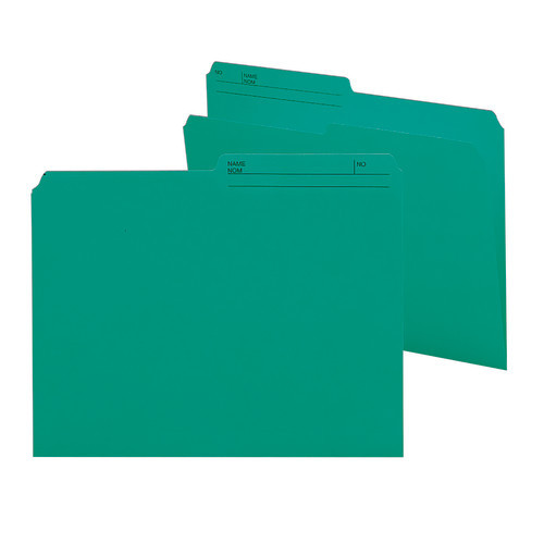 Smead Reversible File Folder, 1/2-Cut Printed Tab, Letter Size, Teal, 100 per Box (10379)
