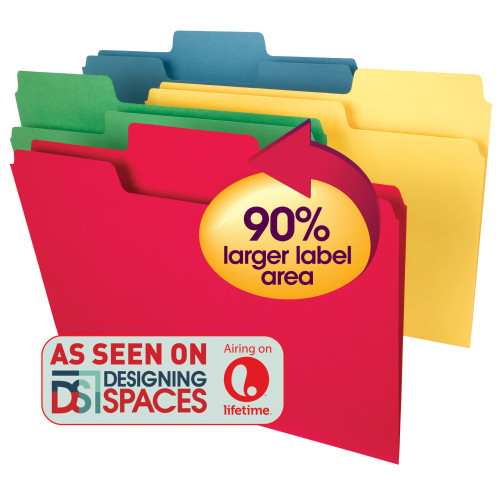 Smead Super Tab Heavyweight File Folder, Oversized 1/3-Cut Tab, Letter Size, Assorted Colors, 50 per Box (10410)