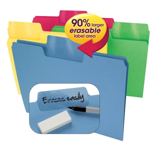 Smead Erasable SuperTab File Folder, Erasable Oversized 1/3-Cut Tab, Letter Size, Assorted Colors, 24 per Pack, (10480) - 6 Packs