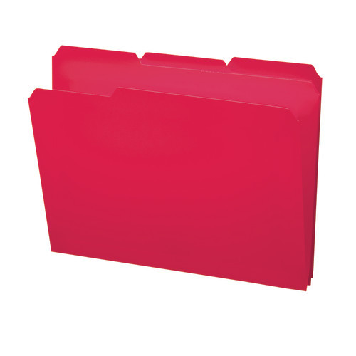 Smead Poly File Folder, 1/3-Cut- Tab Letter Size, Red, 24 per Box (10501)