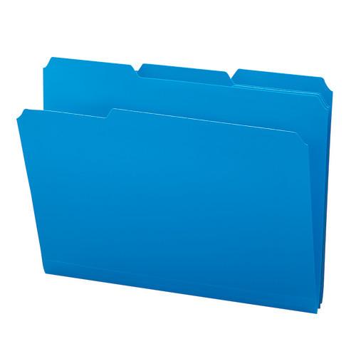 Smead Poly File Folder, 1/3-Cut- Tab Letter Size, Blue, 24 per Box (10503)