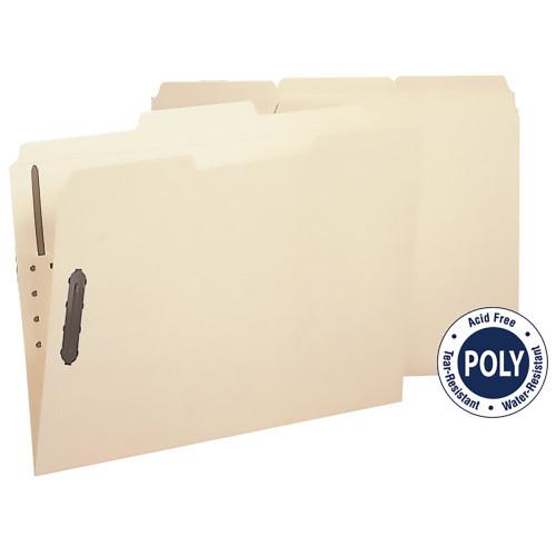 Smead Poly Fastener Folder, 2 Fasteners, 1/3-Cut Tab, Letter Size, Manila, 24 per Box (10545)