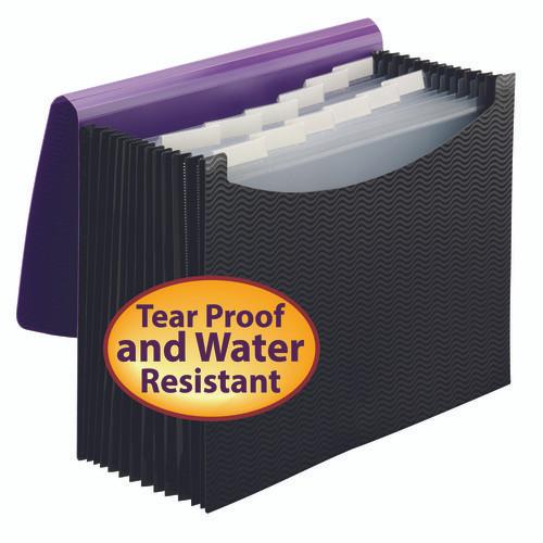 Smead Expanding File, 12 Pockets, Elastic Closure, Letter Size, Wave Pattern Purple/Black (70862) - Total of 12
