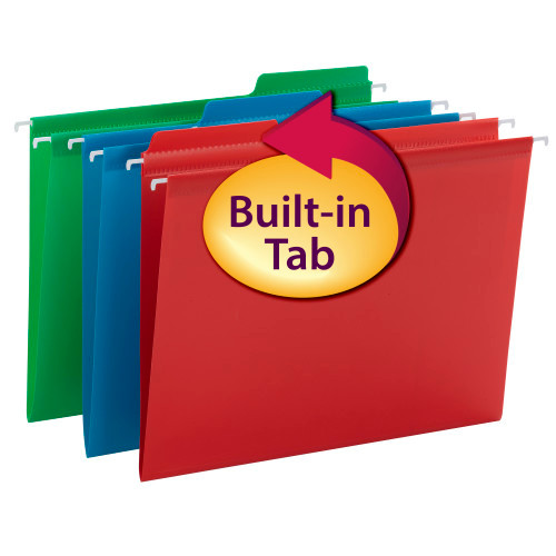 Smead Poly FasTab Hanging Folder, 1/3- Cut Tab, Letter Size, Assorted Colors, 18 per Box (64028)