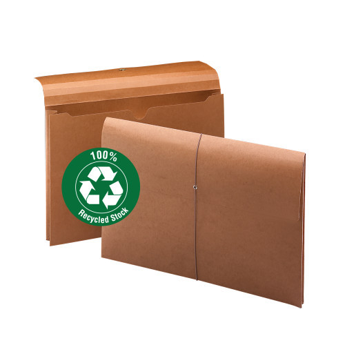 """Smead Wallet, 2"""" Expansion, 100% Recycled, Legal Size, Elastic Closure, Redrope, 10 per Box (77171)"""