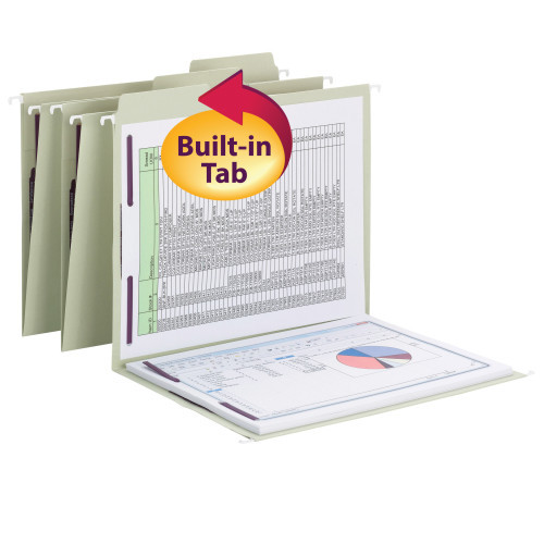 Smead FasTab Hanging Fastener Folder with Two SafeSHIELD Fasteners, 1/3-Cut Built in Tab, Letter Size, Moss, 18 per Box, (65120)
