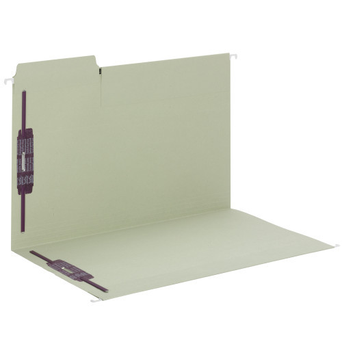 Smead FasTab Hanging Fastener Folder with Two SafeSHIELD Fasteners, 1/3-Cut Built in Tab, Legal Size, Moss, 18 per Box, (65170)