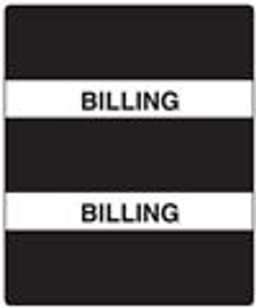 """300 Series Create Your Own Patient Chart Divider Tab- 'Billing' - Black Label - 1-1/2"""" x 1-1/2"""" - 102/Pack"""