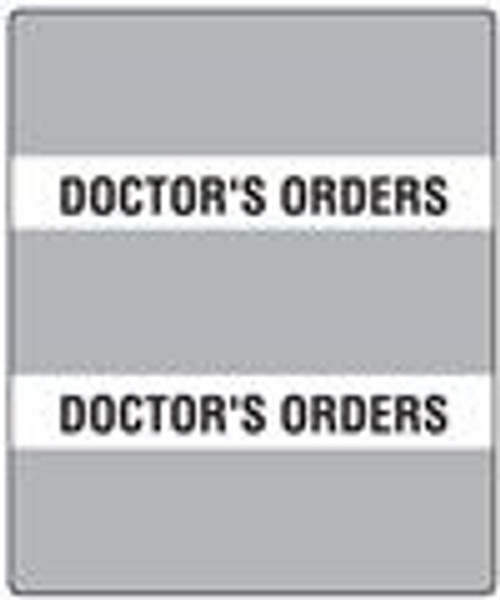"""300 Series Create Your Own Patient Chart Divider Tab- 'Doctor's Orders' - Gray - 1-1/2"""" x 1-1/2"""" - 102/Pack"""