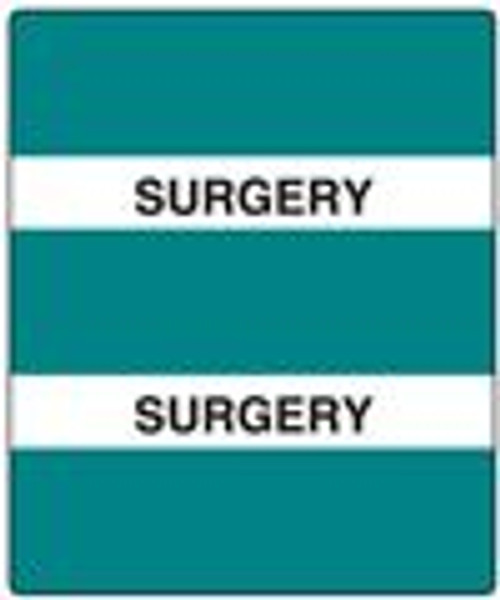"""300 Series Create Your Own Patient Chart Divider Tab -  """"Surgery"""" - Turquoise - 1-1/2'' x 1-1/2'' - 102/Pack"""