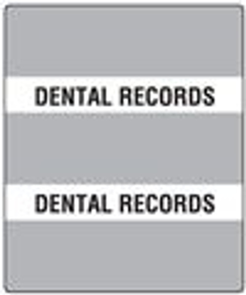 "300 Series Create Your Own Patient Chart Divider Tab- 'Dental Records' - Gray - 1-1/2"" x 1-1/2"" - 102/Pack"
