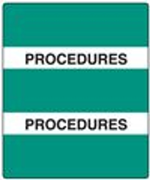 "300 Series Create Your Own Patient Chart Divider Tab- 'Procedures' - Green - 1-1/2"" x 1-1/2"" - 102/Pack"