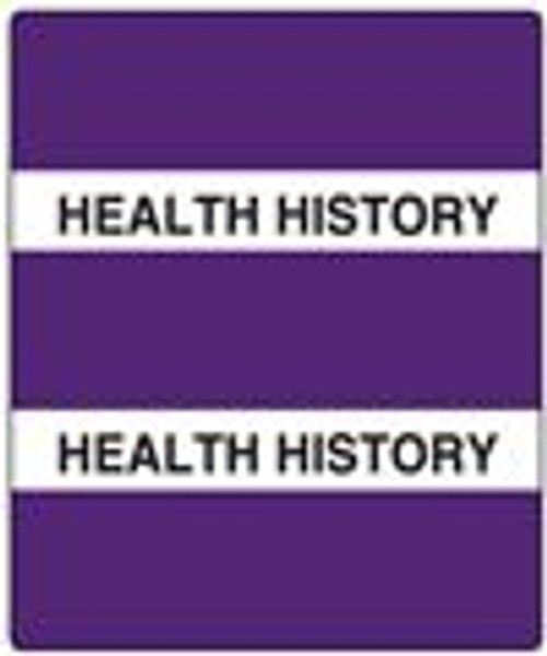 "Create Your Own Patient Chart Divider Tab- 'Health History' - Purple - 1-1/2"" x 1-1/2"" - 300 Series - 102/Pack"