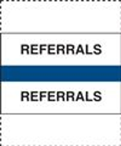 "400 Series Create Your Own Patient Chart Divider Tab - ""Referrals"" - Blue -  1-1/4'' x 1-1/2'' - 100/Pack"