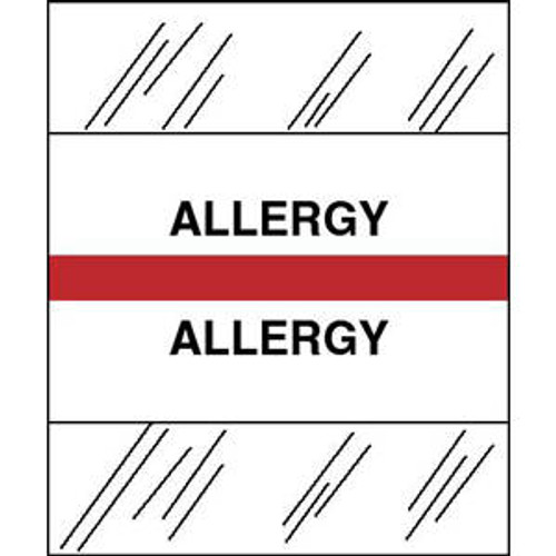 "Create Your Own Patient Chart Divider Tab - ""Allergy"" - 1-1/4""W x 1-1/2""H - Red - 100/Pack"