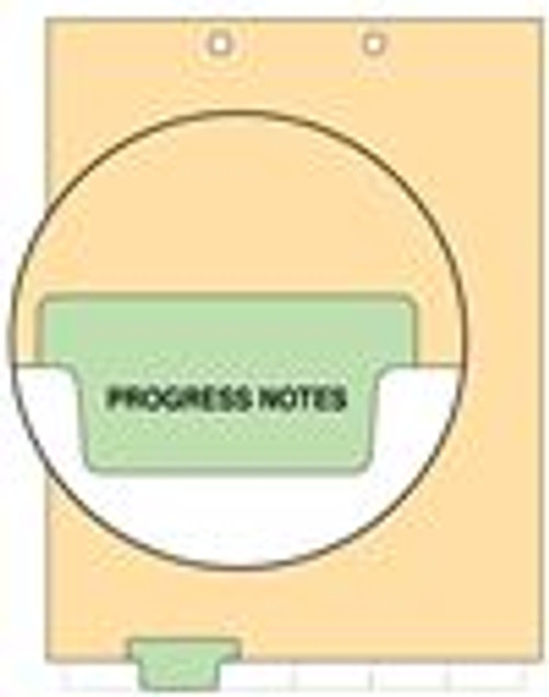 """Progress Notes"" Bottom Tab Index Chart Divider - Green Tab in Position 2 - 100/Pack"