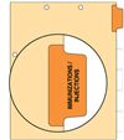 """Immunization"" - Side Tab - 110 lb Manila Index Chart Divider-Immunization - Orange Tab Position 1 - 100/pk"